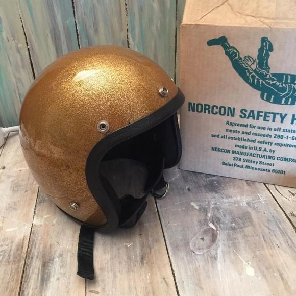Vintage gold flake motorcycle helmet